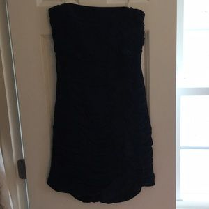 Navy and black ruched Shoshanna strapless dress